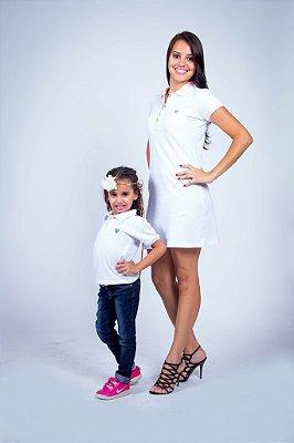Kit Tal Mãe Tal Filha Vestido e Polo Branca com Rosa