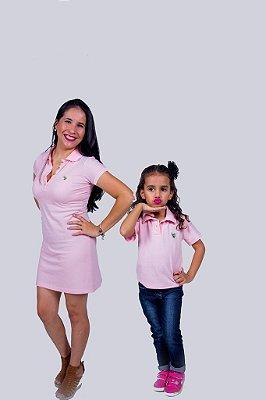 Kit Tal Mãe Tal Filha Vestido e Camisa Polo Rosa