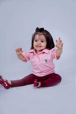 Camisa Polo Infantil Feminina Rosa