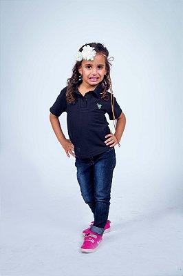 Camisa Polo Infantil Feminina Preta