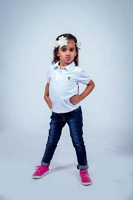 Camisa Polo Infantil Feminina Branca