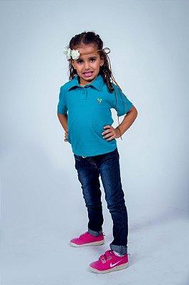 Camisa Polo Infantil Feminina Verde