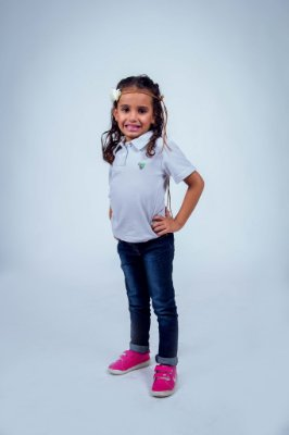 Camisa Polo Infantil Feminina Cinza