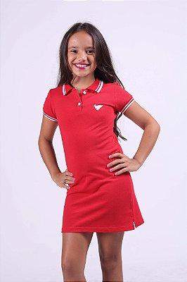 Vestido Infantil Manga Curta Vermelho