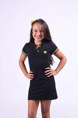 Vestido Infantil Manga Curta Punho Amarelo