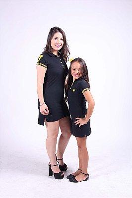 MÃE E FILHA > Kit 02 Vestidos Polo Preto com Amarelo [Coleção Tal Mãe Tal Filha]