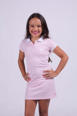 Vestido Infantil Manga Curta Rosa