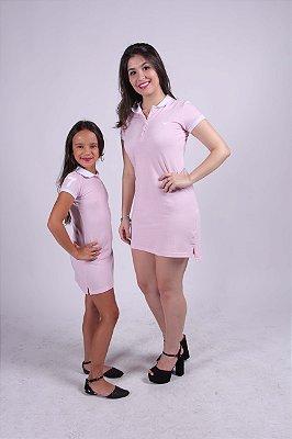 MÃE E FILHA > Kit 02 Vestidos Polo Rosa com Branco [Coleção Tal Mãe Tal Filha]