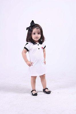 Vestido Infantil Manga Curta Branco