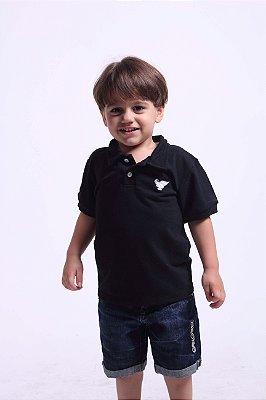 Camisa Polo Infantil Masculina Preta