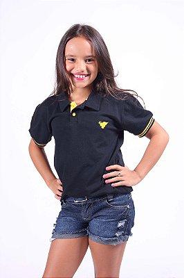 Camisa Polo Infantil Feminina Preta com Punho Amarelo