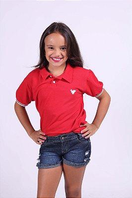 Camisa Polo Infantil Feminina Vermelha