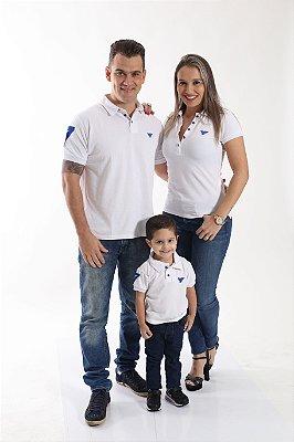 PAIS E FILHOS > Kit 3 peças Camisas Polo Branco Réveillon [Coleção Família]
