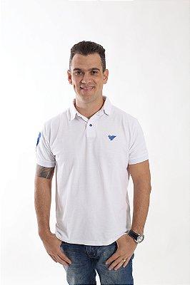 Camisa Polo Branca Com Detalhes Azul