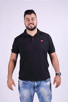 Camisa Polo Preta Com Detalhes Vermelho