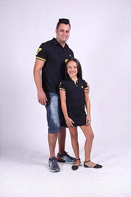PAI E FILHA > Kit Polo e Vestido Pretos com Detalhes Amarelos [Coleção Tal Pai Tal Filho]