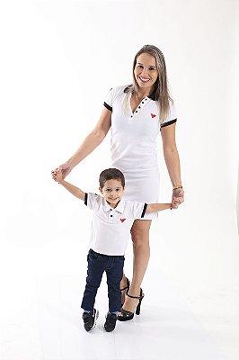 MÃE E FILHO > Kits com 2 peças Camisa e Vestido Polo Branca [Coleção Tal Mãe Tal Filho]