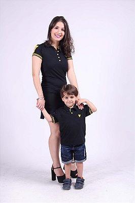 MÃE E FILHO > Kit com 2 peças Vestido e Camisa Polo Preto com Amarelo  [Coleção Tal Mãe Tal Filho]