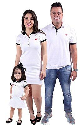 PAIS E FILHOS > Kit 3 peças Camisa e Vestidos Polo Branco Ano Novo [Coleção Família]