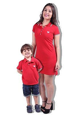 Kit Vestido e Camisa Polo Vermelha Tal Mãe Tal Filhos