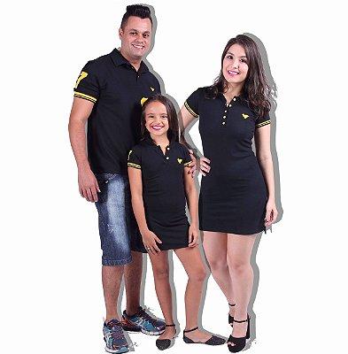 PAIS E FILHOS > Kit com 3 peças Vestidos e Camisa Polo com Amarelo  [Coleção Família]