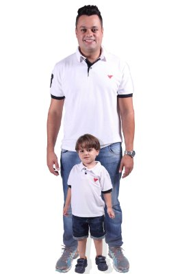 PAI E FILHO > Kit 02 Camisas Pólo Brancas [Coleção Tal Pai Tal Filho]