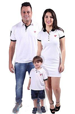 PAIS E FILHOS > Kit 3 peças Camisas e Vestido Polo Branco Ano Novo [Coleção Família]