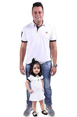 PAI E FILHA > Kit Pólo e Vestido Brancos [Coleção Tal Pai Tal Filho]
