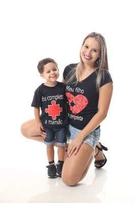 Mãe e Filho > Kit 02 Camisetas Pretas Meu filho me completa [Coleção Tal Mãe Tal Filho]