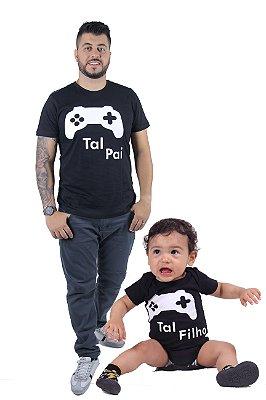 PAI E FILHO > Kit Body + Camiseta Pretos Videogame [Coleção Tal Pai Tal Filho]