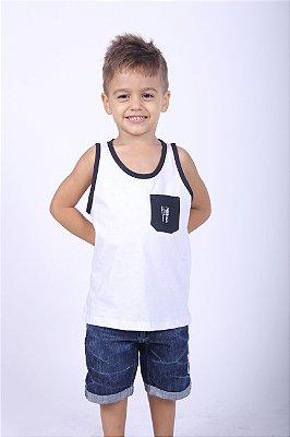 Regata Infantil Branca com bolso preto