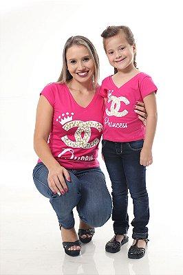 MÃE E FILHA > Kit Camisetas Rosas Rainha e Princesa [Coleção Tal Mãe Tal Filha]