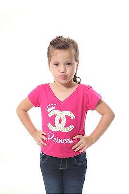 Camiseta Infantil Princesa Rosa