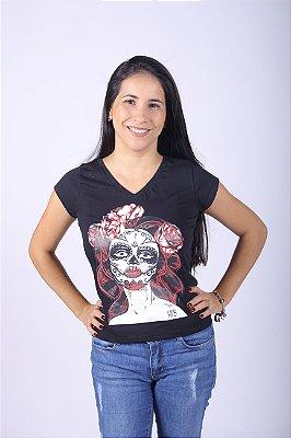 Camiseta Feminina Preta - Caveira Mexicana