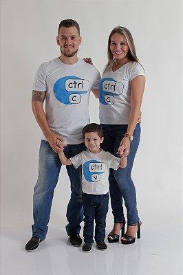 PAIS E FILHOS > Kit 3 peças Camisetas - Ctrl-C e Ctrl-V [Coleção Família]