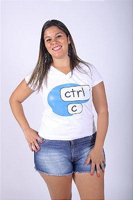 Camiseta Feminina Ctrl-C Branca