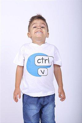 Camiseta Infantil Ctrl-C Branca
