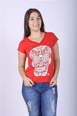 Camiseta Feminina Vermelha - Caveira Mexicana
