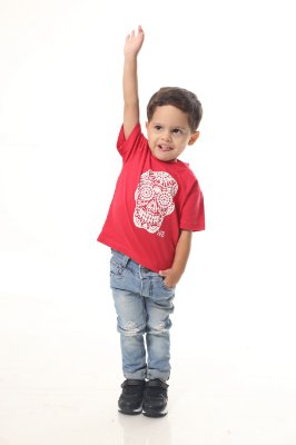 Camiseta Infantil Vermelha caveira