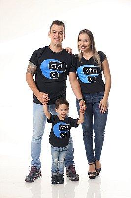 PAIS E FILHOS > Kit 3 Camisetas Pretas CTRL-C & CTRL-V [Coleção Família]