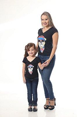 MÃE E FILHA > Kit 02 Camisetas Estampa Cachorro [Coleção Tal Mãe Tal Filha]
