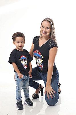 MÃE E FILHO > Kit 02 Camisetas Estampa Cachorro [Coleção Tal Mãe Tal Filho]