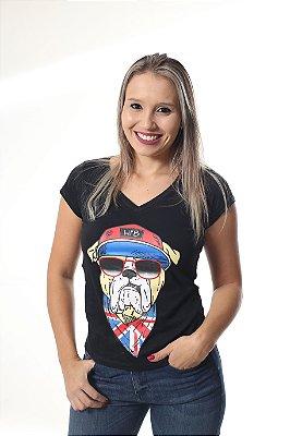 Camiseta Feminina Preta - Estampa Buldog