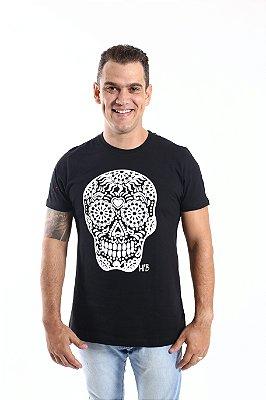 Camiseta Caveira Mexicana Alto Relevo Preta