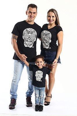 PAIS E FILHOS > Kit 3 peças Camisetas Pretos Caveira [Coleção Família]