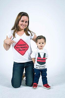 MÃE E FILHO > Kit Camisetas Brancas Segurança [Coleção Tal Mãe Tal Filho]