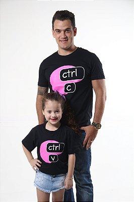 PAI E FILHA >  02 Camisetas Pretas Ctrl+C Ctrl+v [Coleção Tal Pai Tal Filho]