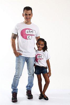 PAI E FILHA > Kit 02 Camisetas Brancas Ctrl+C Ctrl+V [Coleção Tal Pai Tal Filho]