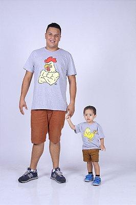 PAI E FILHO > Kit 02 camisetas Galo e Pintinho Cinzas [Coleção Tal Pai Tal Filho]