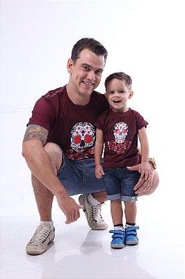 PAI E FILHO > Kit 02 camisetas Vinho com Caveira Mexicana